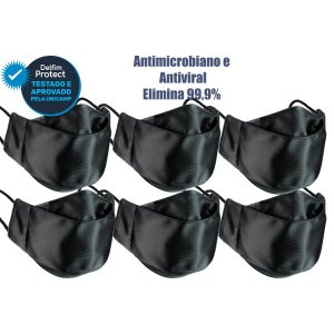 Kit 6 Máscaras De Proteção 3D Antiviral DelfimProtect® Preta
