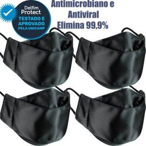 Kit 4 Máscaras De Proteção 3D Antiviral DelfimProtect® Preta