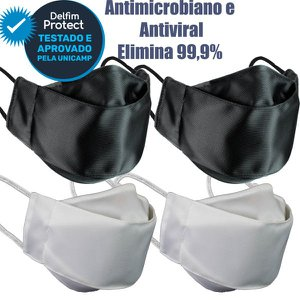 Kit 4 Máscaras De Proteção 3D Antiviral DelfimProtect® 2Preta 2Branca