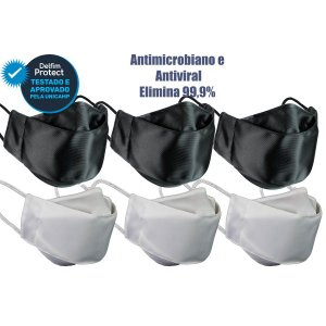Kit 6 Máscaras De Proteção 3D Antiviral DelfimProtect® 3Preta 3Branca