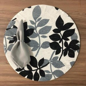 Kit Sousplat Jogo Americano 6 Lugares Completo com Presilha - Floral Cinza
