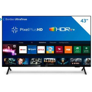 "Smart TV PHILIPS 43"" LED FHD 43PFG6825/78, Wi-Fi Integrado, USB, HDMI Bivolt Preto"