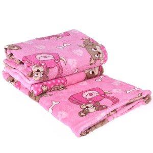 Manta Cobertor Em Microfibra Para Cachor 70Cm X 1,00M Rosa - Meu Pet