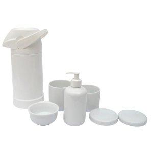 Kit Higiene Bebê Porcelana Multi Uso Térmica + Potes + Molhadeira Branca.