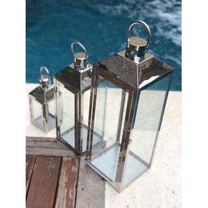 Kit 3 Lanterna Marroquina Inox Vidro Prata -60, 46 E 29 Cm