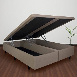 Conjunto Cama Box Baú Queen Courino Linho Bege + Colchão Queen Adapto Molas ensacadas 158x198