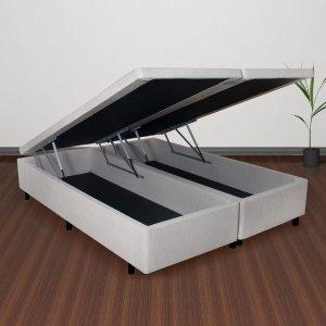 Conjunto Cama Box Baú Queen Courino Linho Areia + Colchão Queen Adapto Molas ensacadas 158x198