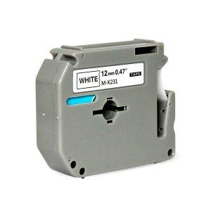 Fita para Rotulador 12mm x 8m Marca X-Full Branco/Preto Referência M-K231 M231 MK231 p/ PT-70 PT-80