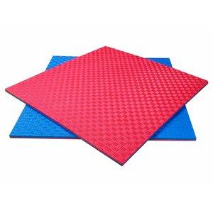 Tatame Tapete Eva 100x100x2cm 1x1 Metro 20mm Azul e Vermelho