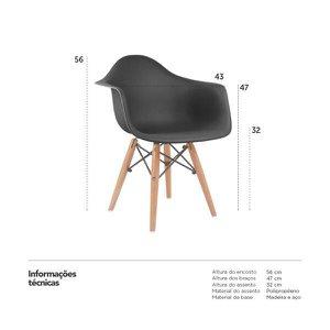 Cadeira infantil Eames Junior com apoio de braços - Kids - Preto