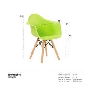 Cadeira infantil Eames Junior com apoio de braços - Kids - Verde limão