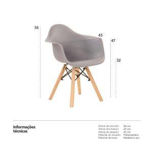 Cadeira infantil Eames Junior com apoio de braços - Kids - Cinza