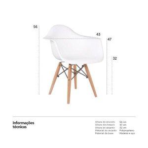 KIT - 2 x cadeiras Eames Junior com apoios de braços - Infantil - Branco