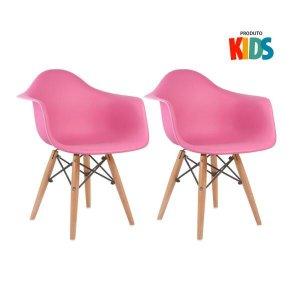 KIT - 2 x cadeiras Eames Junior com apoios de braços - Infantil - Rosa