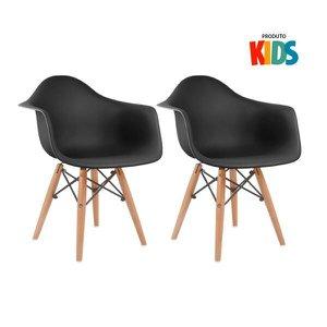 KIT - 2 x cadeiras Eames Junior com apoios de braços - Infantil - Preto