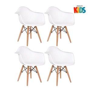 KIT - 4 x cadeiras Eames Junior com apoios de braços - Infantil - Branco