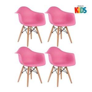 KIT - 4 x cadeiras Eames Junior com apoios de braços - Infantil - Rosa