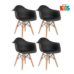 KIT - 4 x cadeiras Eames Junior com apoios de braços - Infantil - Preto