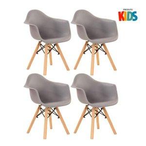KIT - 4 x cadeiras Eames Junior com apoios de braços - Infantil - Cinza