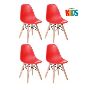 KIT - 4 x cadeiras infantil Eames Eiffel Junior - Kids - Vermelho