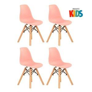 KIT - 4 x cadeiras infantil Eames Eiffel Junior - Kids - Rosa coral