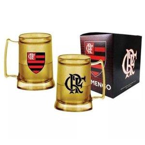 Caneca Copo Gel Flamengo Dourada 400Ml Oficial