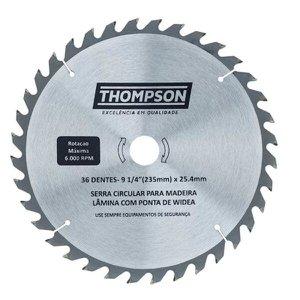 Lâmina de Serra Circular Para Madeira 9.1/4'' 36 Dentes - 235 mm x 25,4 mm Thompson