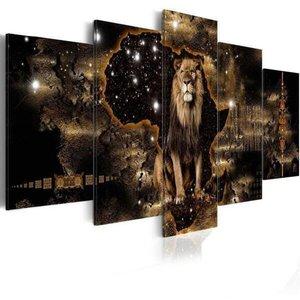Quadro Decorativo Leão Marrom Universo Sala 5 Peças
