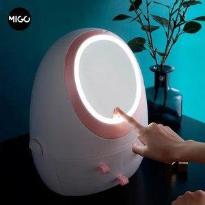 Organizador Maquiagem Com Espelho Iluminação Led 360°