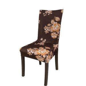Capa Para Cadeira De Malha Kit Com 4 Peças Cor Flores Outono