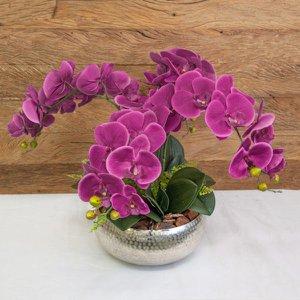 Arranjo de Orquídea Pink de Silicone em Vaso de Inox