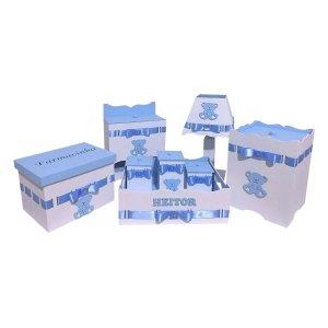 Kit Higiene De Bebê Em Mdf Tema Ursinho Azul Bebe