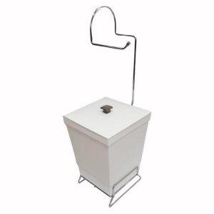 Lixeira Banheiro Com Suporte Papel Higiênico - Branco