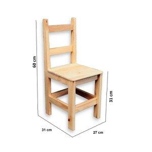 Cadeira Infantil de Madeira de Pinus Sem Pintura Super Resistente Suporta 80 KG
