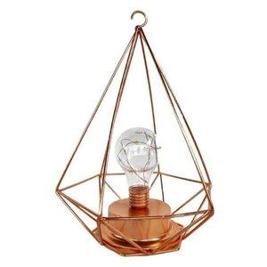 Luminária Decorativa de Led Formato de Diamante Dourada Rose Cobre