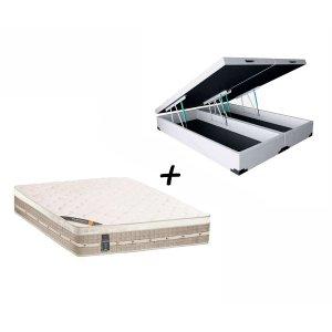 Colchão Castor Queen Molas Premium Tecnopedic + Box Baú Queen Sintético Branco 158x198