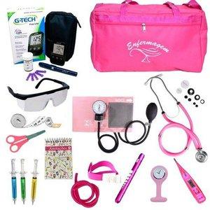 Kit Enfermagem Cores Bolsa Top Premium + Medidor de Glicose - Pink-Bolsa Tipo 2