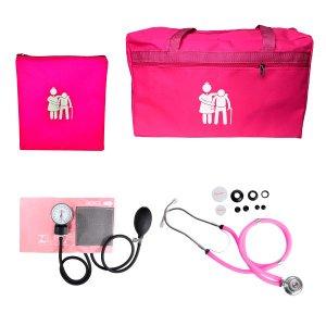 Kit Cuidador de Idosos com Bolsa, Porta Jaleco e Aparelho de Pressão Premium - Rosa