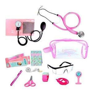 Kit Materiais Enfermagem Completo + Necessaire Transparente - Rosa