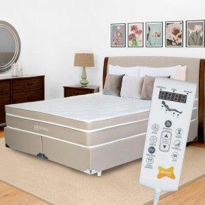 Kit Cama Box Tecnológico Massageador Chronos - Casal:Casal (138 x 188cm)
