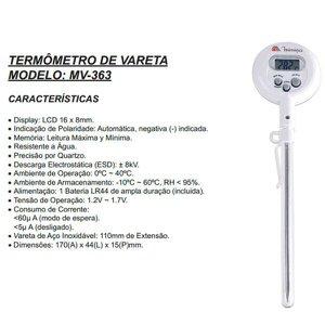 Termômetro de Vareta Minipa -10 a 200ºC - MV-363 MV-363