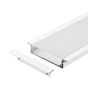 Perfil Embutir Alumínio Branco 66x13mm 2 Metros + 4 Metros Fita 120 LEDS/Metro 4000K + Fonte 4A