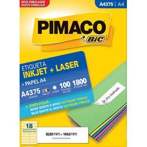 Etiqueta Adesiva A4 A4375 Inkjet Laser 100 FLS 32,83x104,5mm Pimaco