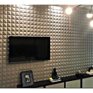 Kit 10m² Revestimento 3d parede mod piramidal placas 50x50
