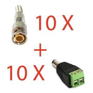 Kit 10 Conector Bnc Com Mola + 10 P4 Macho Com Borne