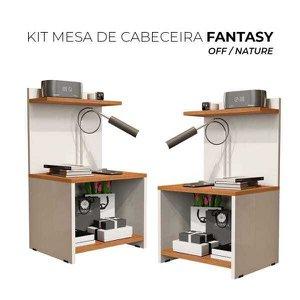Kit Mesas de Cabeceira Fantasy - Off White/Nature - Mania de Móveis