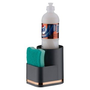 Suporte Para Vidro de Detergente e Esponja Detalhe Piatina Cobre - Preto/Cobre