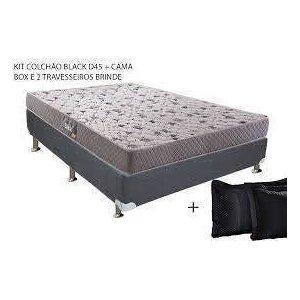 Conjunto Colchão Herval Black 45 Queen (1,58x1,98) Acompanha Cama box + 2 travesseiros