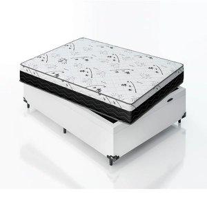 Cama Box Casal com Baú + Colchão D33 One Face (61x138x188) e-Shop Casa - Couro Branco