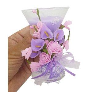 Vela Decorativa Media Kit Com 8 Festa 15 Anos Flor Enfeite Lilas